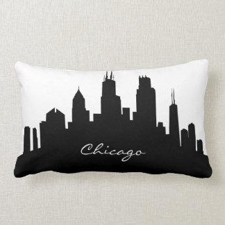 Black and White Chicago Skyline Lumbar Cushion