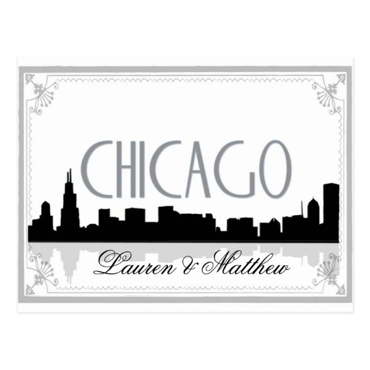 Black and white Chicago skyline Postcard