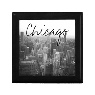 Black and White Chicago Skyline Small Square Gift Box