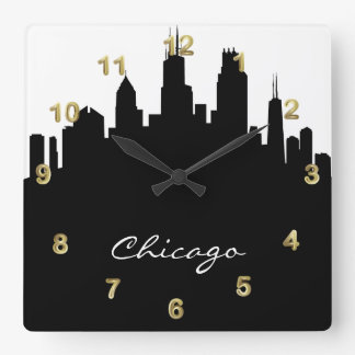 Black and White Chicago Skyline Square Wall Clock