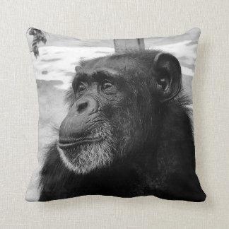 Black and White Chimpanzee Pillow