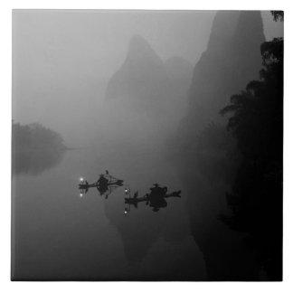 Black and white, China, Li River, Fisherman on Large Square Tile
