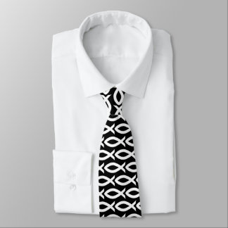Black and White Christian Fish Symbol  Necktie