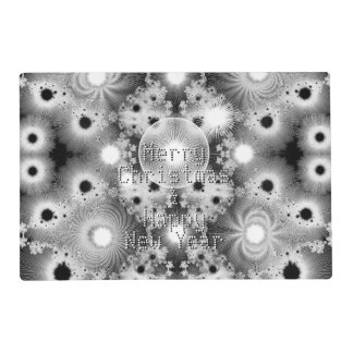 Black and White Christmas Fractal Stars Laminated Place Mat