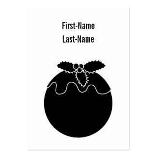 Black and White Christmas Pudding. Business Card Template