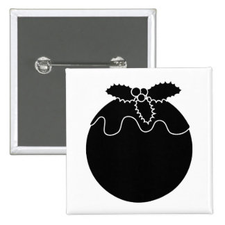 Black and White Christmas Pudding. Buttons