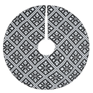 Black and White Christmas Snowflakes Pattern Brushed Polyester Tree Skirt