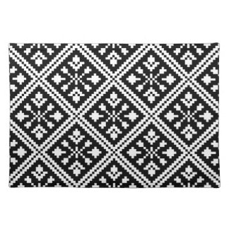 Black and White Christmas Snowflakes Pattern Placemat