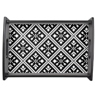 Black and White Christmas Snowflakes Pattern Serving Tray