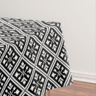 Black and White Christmas Snowflakes Pattern Tablecloth