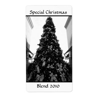 Black and white Christmas tree picture Shipping Label