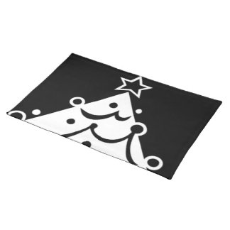 Black and White Christmas Tree Place Mat