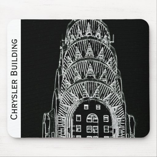 Black and White Chrysler Building Mouse Pad