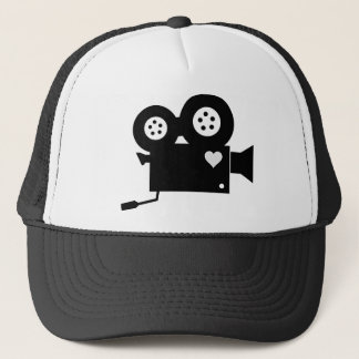 BLACK AND WHITE CINE CAMERA AND HEART TRUCKER HAT