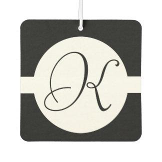 Black and White Circle Monogram Car Air Freshener