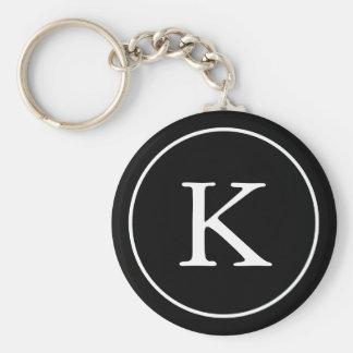 Black and White Circle | Monogram Initial Key Ring