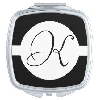 Black and White Circle Monogram Makeup Mirror