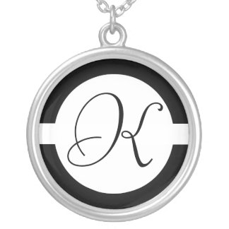 Black and White Circle Monogram Silver Plated Necklace