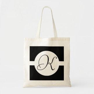 Black and White Circle Monogram Tote Bag