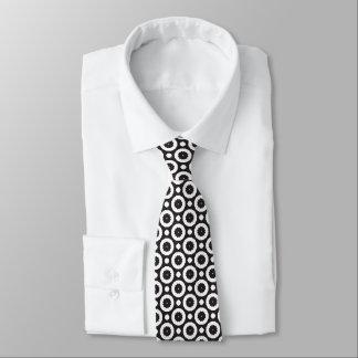 black and white circle pattern tie