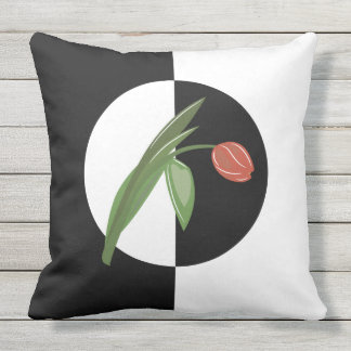 Black and White Circle with Tulip apassion4pixels Outdoor Cushion