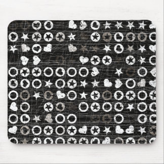 Black and White circles and hearts Mouse Pad