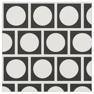 Black and White Circles and Squares Fabric