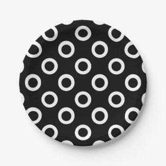 Black and White Circles on Black Paper Plates