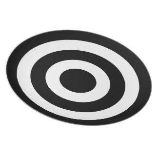 Black and White Circles Pattern - Dinner Plate
