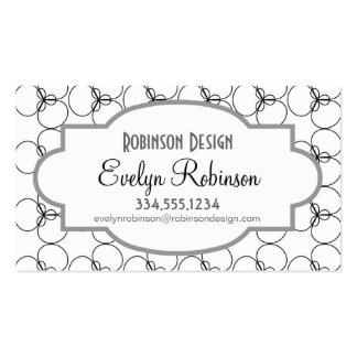 Black and White Circles, Rings Business Cards