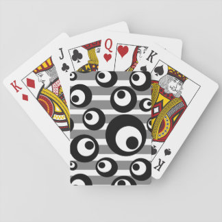 Black and White Circles Stripes Geometric Playing Cards