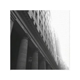 Black and White City Building Canvas Canvas Print