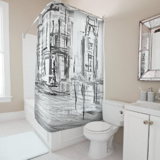 Black and White City Scene Shower Curtain