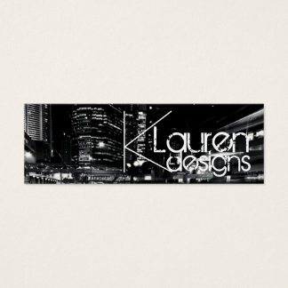 black and white city skinny business card