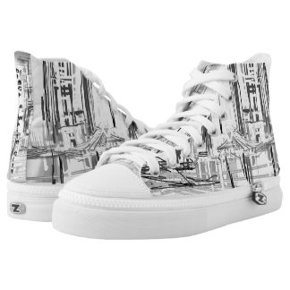 Black and White City-Urban High-Tops Printed Shoes