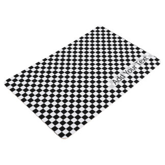 Black and White Classic Checkerboard by STaylor Floor Mat