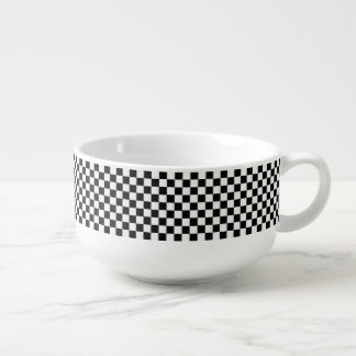 Black and White Classic Checkerboard by STaylor Soup Bowl With Handle