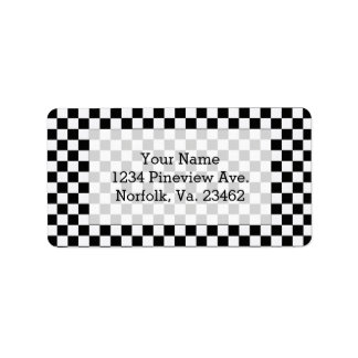 Black And White Classic Checkerboard Label
