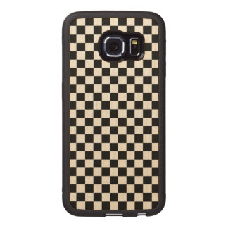 Black And White Classic Checkerboard Wood Phone Case