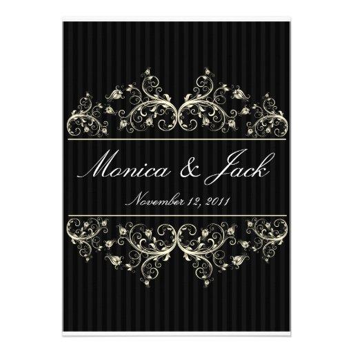 Black and white classic elegant wedding invitation