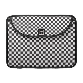 Black And White Classic Retro Checkered Pattern MacBook Pro Sleeves