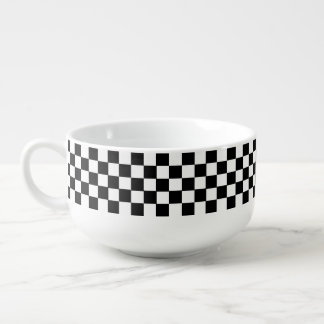 Black And White Classic Retro Checkered Pattern Soup Mug