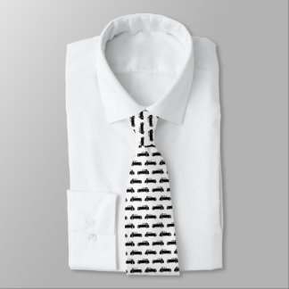 Black And White Classic Vintage Car Pattern Tie