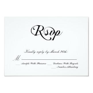 Black and White Classic Wedding 9 Cm X 13 Cm Invitation Card
