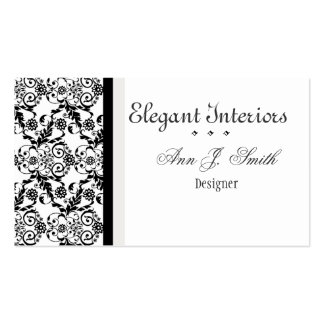 Black and White Classy   Elegant Damask Floral Pack Of Standard Business Cards