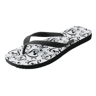Black And White Clef Hearts Music Notes Shoes Thongs