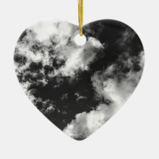 Black and White Cloudy weather Ceramic Heart Decoration