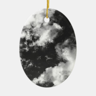 Black and White Cloudy weather Ceramic Oval Decoration