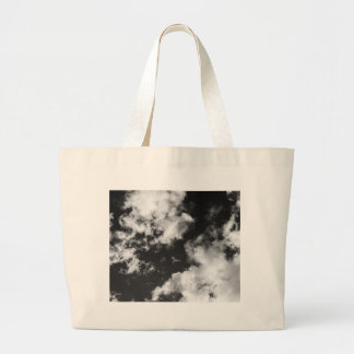 Black and White Cloudy weather Large Tote Bag