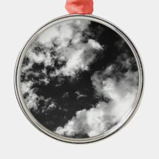 Black and White Cloudy weather Silver-Colored Round Decoration